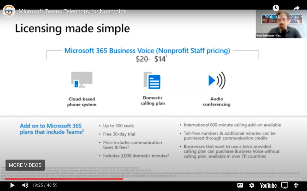 image of Microsoft Business Voice licensing and pricing information for nonprofits